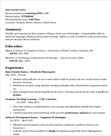 7+ Sample Data Scientist Resumes - PDF, Word