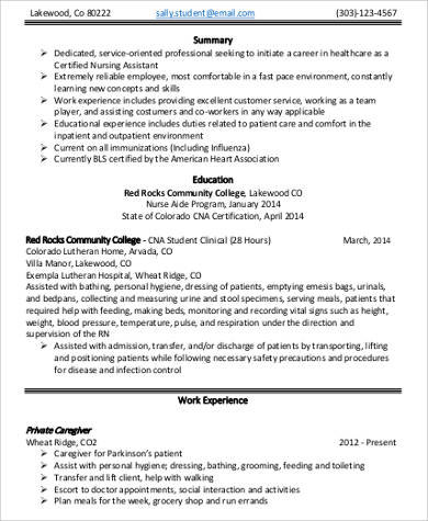 Sample Nursing Assistant Resume   Examples In Word Pdf