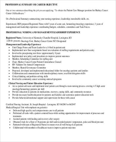 nursing assistant experience resume format