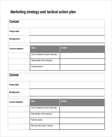 Marketing Strategy And Tactical Action Plan Sample In Word