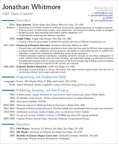 data scientist sample resume