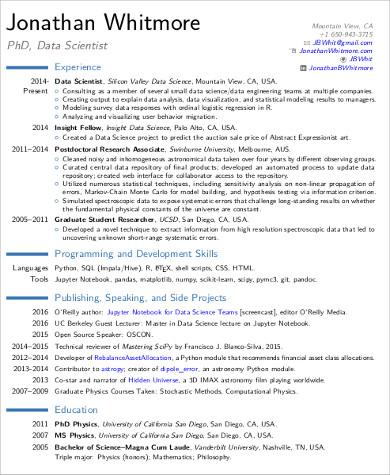 sample resume science phd - Sample Resume Science Graduate