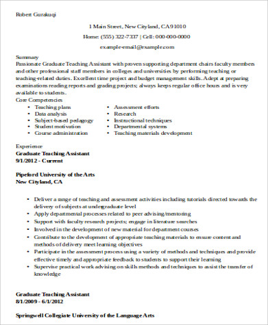 Sample Teaching Assistant Resume - 9+ Examples In Word, Pdf