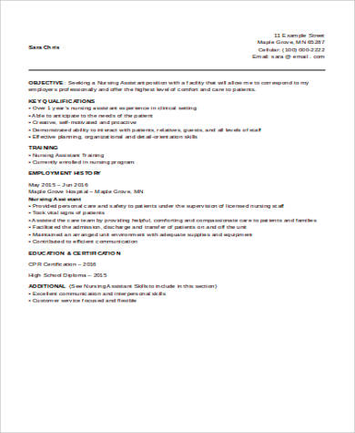 Resume for nurse aide