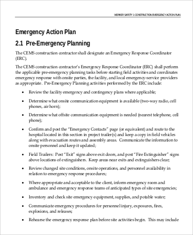 Emergency Action Plan Sample   Examples In Pdf