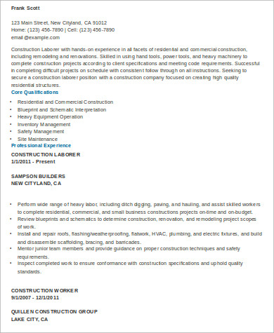 experienced construction worker resume1