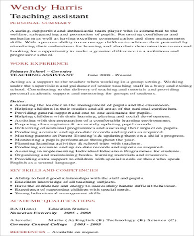 teaching assistant experience resume