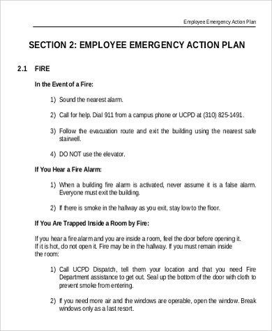 emergency action plan sample written program