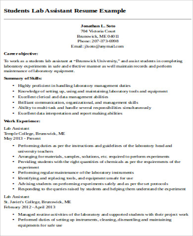 lab teaching assistant resume format - Examples Of Teacher Assistant Resumes