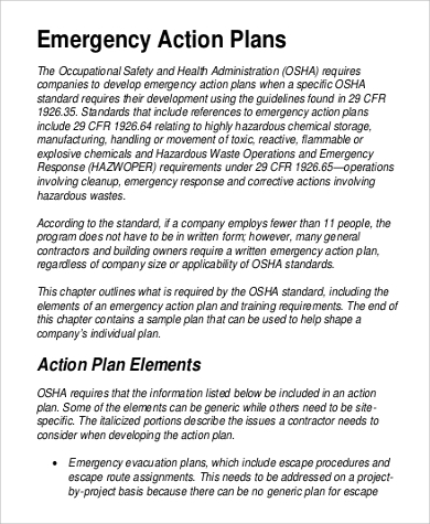 Osha emergency action plan template gallery template for Osha safety plan template