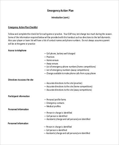 emergency action plan checklist