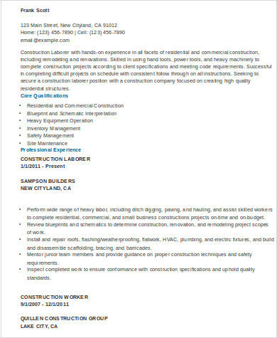 Sample Construction Worker Resume - 9+ Examples In Word, Pdf