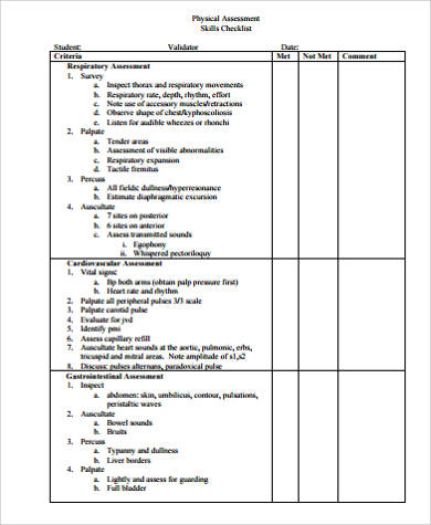 physical assessment checklist form