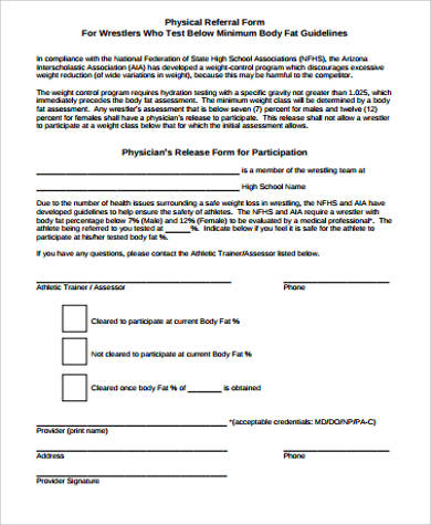 physical assessment referral form