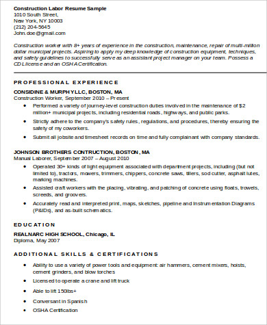 Sample Construction Worker Resume   Examples In Word Pdf
