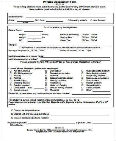 Physical Assessment Form Sample   Examples In Word Pdf