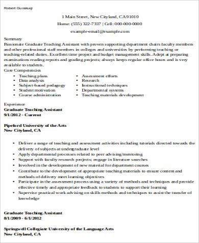 University Teaching Assistant Resume  Graduate Teaching Assistant Resume