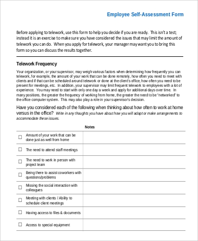 Sample SelfAssessment Example   Examples In Pdf