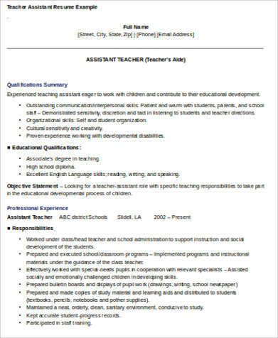 teaching assistant skills resume