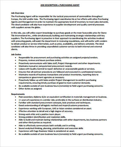 Purchasing Job Description Sample   Examples In Word Pdf