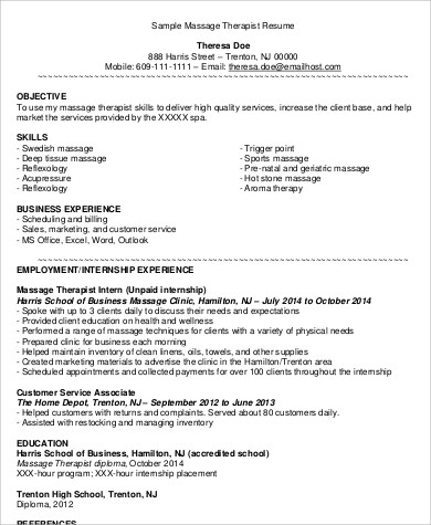 Sample Massage Therapist Resume   Examples In Word Pdf