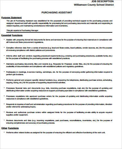 Purchasing Job Description Sample   10+ Examples In Word, Pdf
