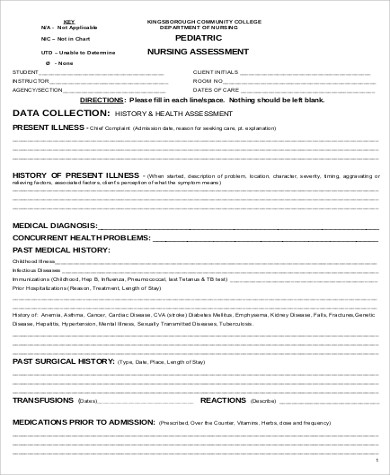 pediatric nursing assessment form