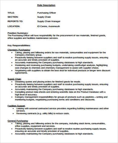 purchasing officer job description
