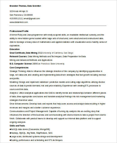 sle data scientist resume 7 exles in word pdf