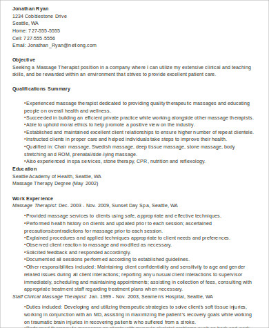 experienced massage therapist resume example