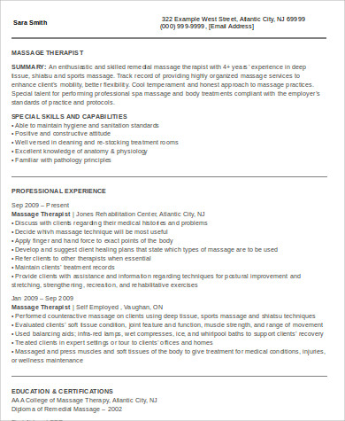 self employed massage therapist resume