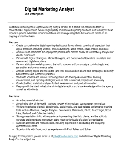 digital marketing analyst job description pdf