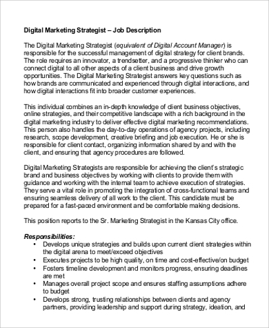 digital marketing strategist job description