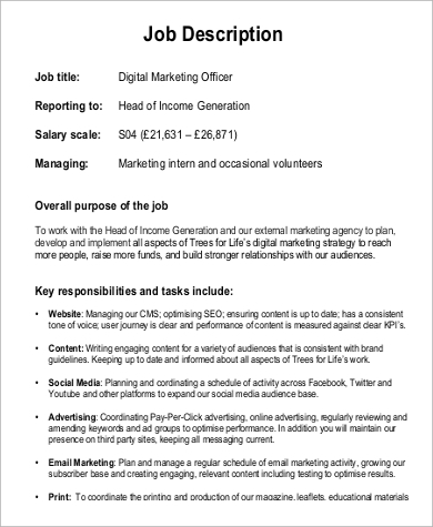 9 digital marketing job description samples sample - Chief marketing officer job description ...