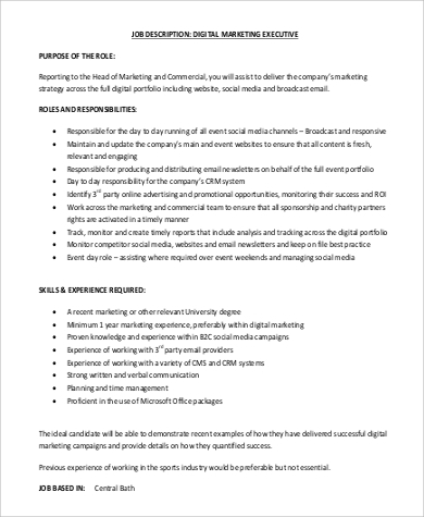 Digital Marketing Job Description Sample   Examples In Word Pdf