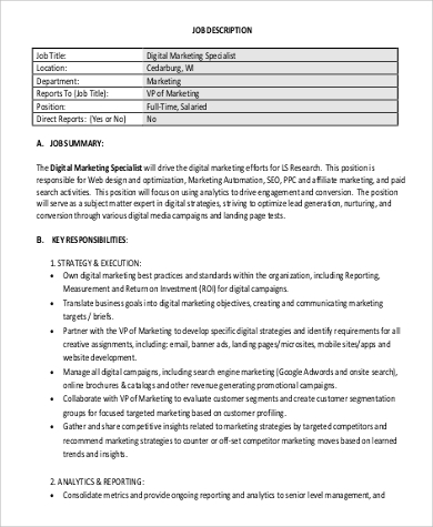 9+ Digital Marketing Job Description Samples | Sample Templates