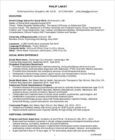 experienced social worker resume