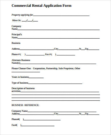 commercial rent application form