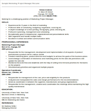 marketing project manager resume pdf