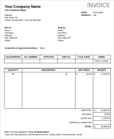 8+ Business Invoice Sample - Free Sample, Example, Format Download