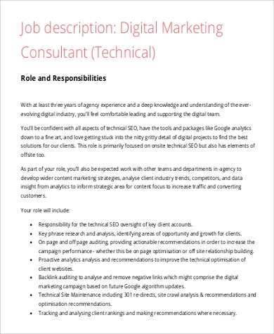 digital marketing consultant job description