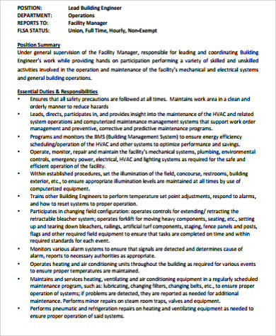 Building Engineer Job Description Sample - 8+ Examples In Word, Pdf