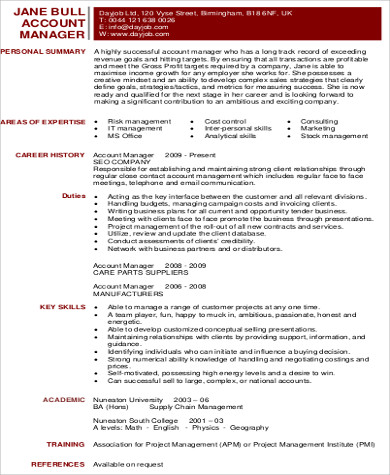 marketing account manager resume