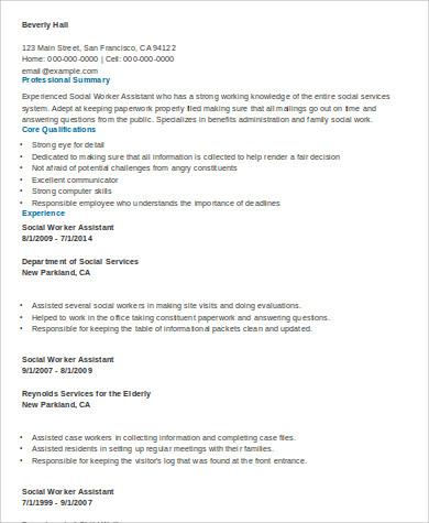 assistant social worker resume