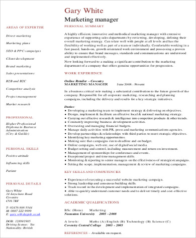 experience marketing manager resume