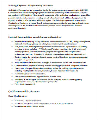 Building Engineer Job Description Sample   Examples In Word Pdf