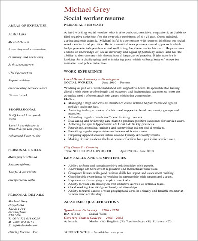 Free 10 Sample Social Worker Resume Templates In Ms Word