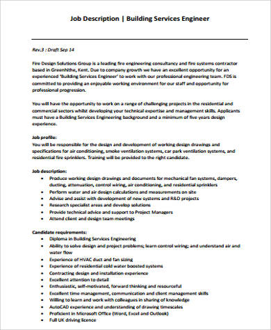 Building Engineer Job Description Sample   Examples In Word
