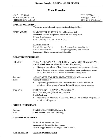 Sample Social Worker Resume   Examples In Word Pdf