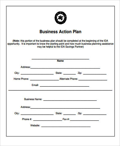 Sample Business Action Plan  Free Sample Example Format Download